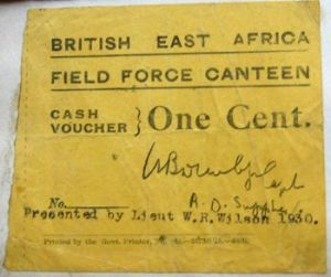 A canteen voucher issued to the men.