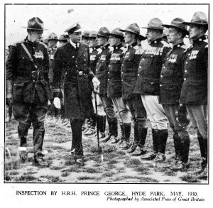 Inspection by HRH Prince George, Duke of Kent, May 1930.