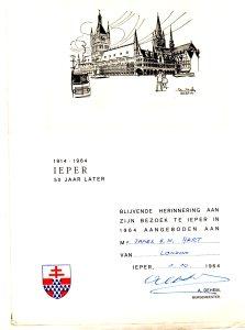 1964 50th anniversary invitation Ypres