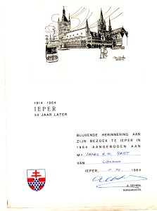 1964 50th anniversary invitation Ypres