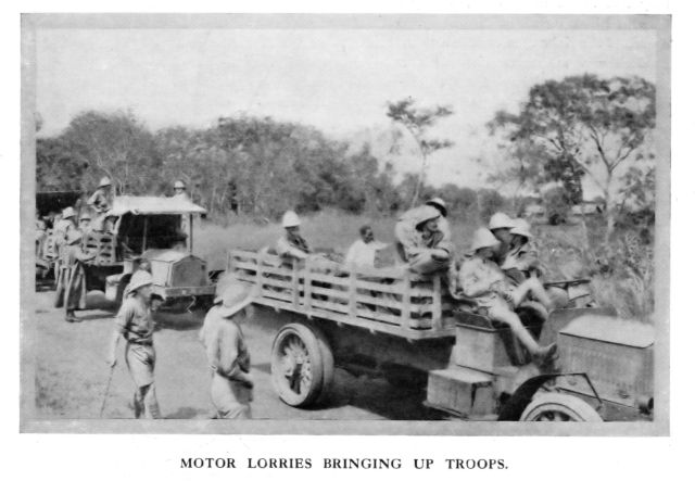 """Motor Lorries Bringing up Troops. Source: """"Times History of the War""""."""